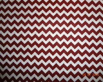 "Crimson and White Chevron Print Cotton Fabric by the yard - Approx. 60"" wide"