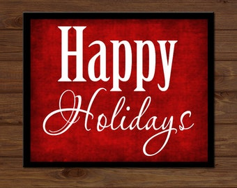 INSTANT DIGITAL DOWNLOAD - Happy Holidays Christmas Sign Wooden Holiday Decor Gift Sign Art Picture