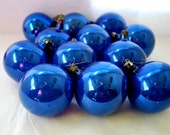 Blue Christmas Balls in Glass and Celluloid Half See Trought