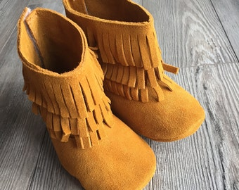 Leather Suede Moccasin Boots, Leather suede fringe boots,