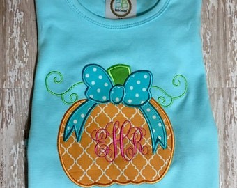 Pumpkin with Bow Monogram; Fall; Short or Long Sleeve; Shirt or Onesie; Sibling Sets