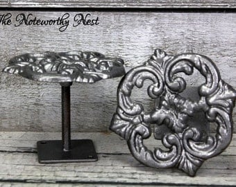 ANY COLOR-ONE Cast Iron drapery tie back /curtain tie back / iron drapery tiebacks / drapery pullback / curtain pull back // silver tie back