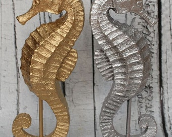 Seahorse Statue //Gold Seahorse / Silver Seahorse // bathroom decor // nautical // coastal decor // Seahorse on Stand
