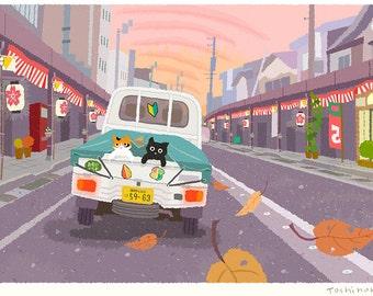 Cat illustration A3 Print, Dusk of the autumn festival,Wall decor, Art poster
