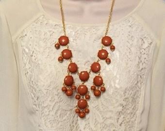 Autumn Fall Burnt Orange Brown Bubble Bib Beaded Chandelier Statement Necklace