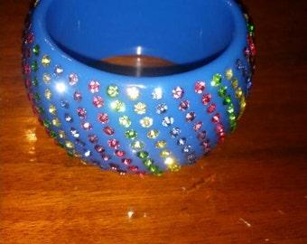 SALE. Cute Acrylic Blue Vintage Bangle Bracelet With Multicolor Rhinestones