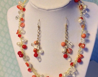 Wire crochet necklace and earring set