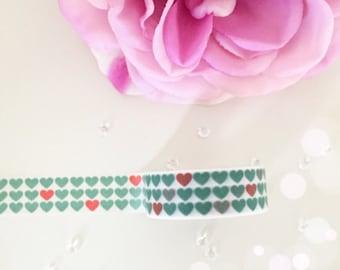 Aqua & red hearts