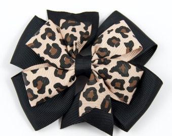 Leopard Print Hair Bow, Animal Print Hair Bow, Flower Hair Bow, Leopard Print Bow, Animal Print Flower Hair Clip (Item #10230)