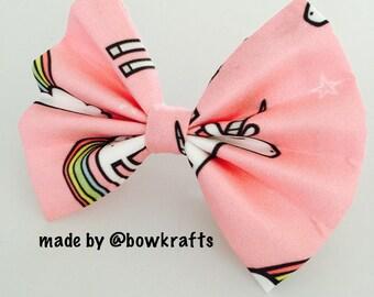 Unicorn and rainbow hair bow