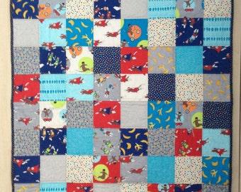 Baby quilt, sock monkey baby blanket, nursery bedding, cot quilt, pram blanket, tummy time mat, play mat