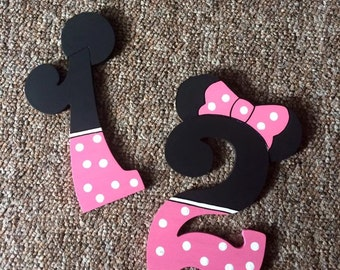 Mickey/Minnie Mouse Handpainted Letters/Numbers