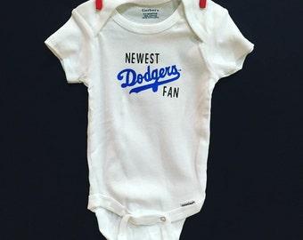 Newest Dodgers Fan | baseball baby fan | Los Angeles | MLB baby onesie
