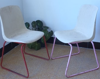 Children chairs beige seventies, the pair, mark Grosfilex, design seventies