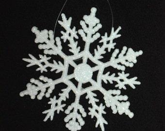 """10 Sparkling White 4"""" SNOWFLAKE Christmas ORNAMENTS"""