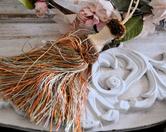 Vintage french silk trim, tassel for key