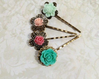 NEW! Mint Green And Pink Floral Hair Clips