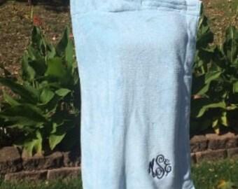 Monogrammed Plush Bath Towel Wrap - Personalized - Blue - Wedding Bride Pool Spa Robe - Women's XL-XXL