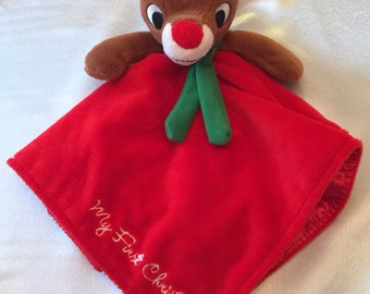 Baby's Plush Rudolph the Red-Nosed Reindeer Lovey Rattle My First Christmas Security Blanket - Monogrammed