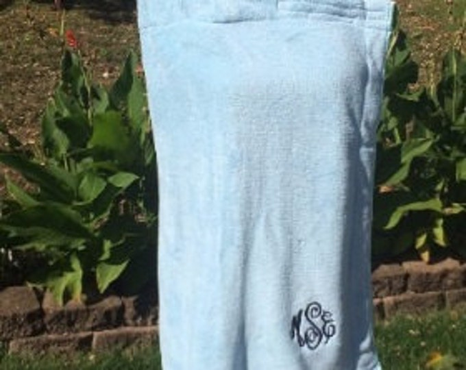 Monogrammed Plush Bath Towel Wrap - Personalized - Blue - Wedding Bride Pool Spa Robe - Women's XL-XXL