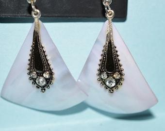 Beautiful Vintage Soft Purple Mother of Pearl, Black Enamel and Rhinestone Oval Earrings (1017146)