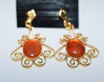 Vintage, Elegant Carnelian Filigree Earrings (1017380)