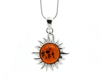 Flaming Sun Necklace - Sun Pendant - Flaming Sun Pendant - Amber Necklace - Amber Pendant - Sun Necklace - Silver Sun Necklace -347P1