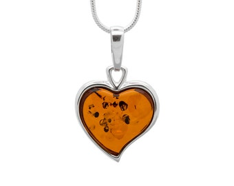 Heart Necklace - Amber Heart Pendant - Amber Necklace - Amber Pendant - Silver Heart Necklace - Amber Heart Necklace - Love Necklace -360P2