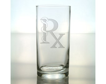 Pharmacy (Rx) Cooler Glass / Free Personalization / Etched Tumbler for Pharmacy Student / Gift for Graduate / Personalized Gift