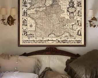 "France map 1627, Historical map of France in 4 sizes up to 45x36"" (110x90cm) Baroque French map, also in blue - Limited Edition of 100"