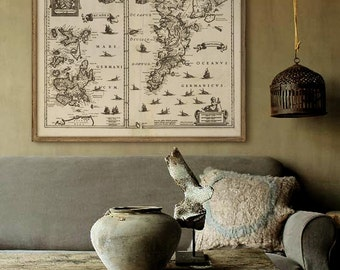 "Orkney Shetland map 1636, Old map of Shetland and Orkney Islands, 4 sizes up to 45x36"" (110x90cm) also in blue - Limited Edition of 100"
