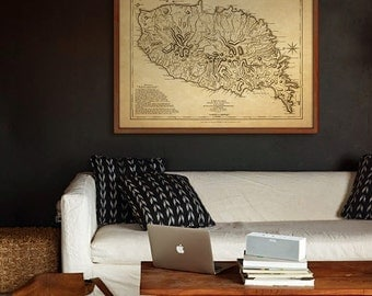 "Grenada map 1775, Old map of Grenada Island in the Caribbean in 4 sizes up to 48x36"" (120x90 cm) also in blue - Limited Edition - Print 7"