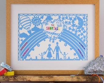 Personalised Rainbow Print, Rainbow Family Print, Custom Family Print, Personalised Family Wall Art, Rainbow Art Print