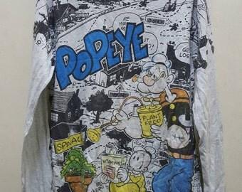 Vintage Popeye fullprint longsleves shirt tshirt