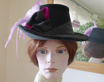 Velvet hat for late bustle style
