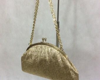 Vintage Gold  Lame Lurex Clutch Bag Evening Purse c 1950s