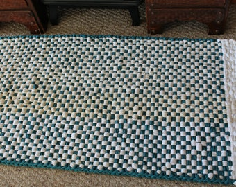 Large Rag Rug Runner, White & Teal Rug, 2ft x 4ft Rug, Hand Woven Rag Rug, Kitchen Rug, Indoor Porch Rag Rug, Mud Room Rug, Ready to Ship