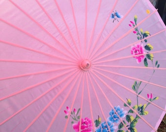 Beautiful PINK sun umbrella with hand painted flowers