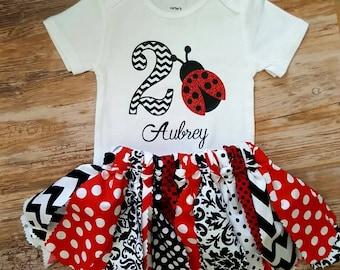 Personalized Glitter Ladybug Birthday Outfit  2nd Birthday 1st Birthday  Bodysuit or Girls T-Shirt