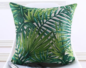 """Decorative pillow, Euro cushion cover/tropical leaves palm leaf  throw pillow cushion shell customized size 22x22""""/24x24"""""""
