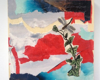 Little Dragonfly, Mixed Media Collage