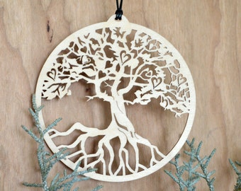 Tree of Life ornament Everlasting Love with hearts woodcut tree of life decoration, Beloved tree of Life