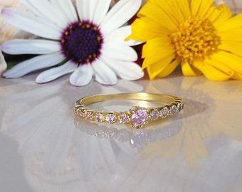 20% off- SALE!! Rose Quartz Ring - October Birthstone - Tiny Ring - Gold Ring - Slim Stack Ring - Dainty Ring - Bezel Set Ring - Pink Ring