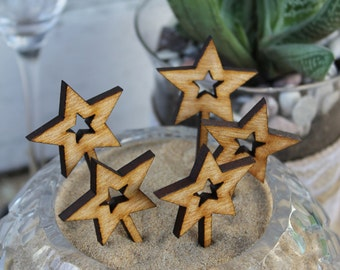 Rustic Wooden Star Cupcake Toppers, Happy Birthday, Celeration, Party.