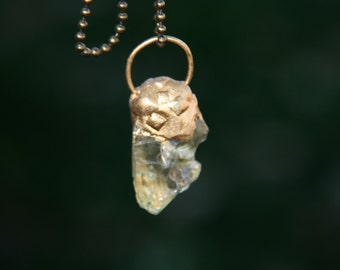 Citrine necklace,organic cabochon,mix metal chain , 15 inches long (adjustable )