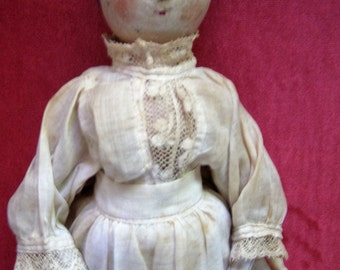 "Antique 12"" Tall Wooden Peg Doll from the 1800s with Antique Dress and Apron Outfit"