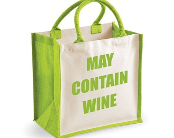 Wine Bag Shopping Bag May Contain Wine Green Jute Bag Black Reusable Black Shopper