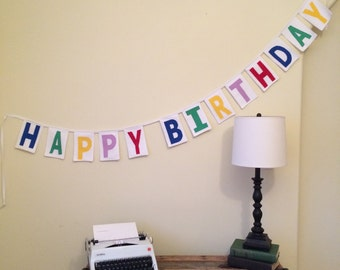 Happy Birthday Banner in Primary Colors on White