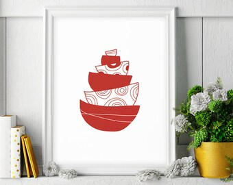 Red Kitchen Decor, Large Kitchen Wall Art Print, Bowl Printable Kitchen Art, Kitchen Printable Art, Red Kitchen Print, Digital Download Art