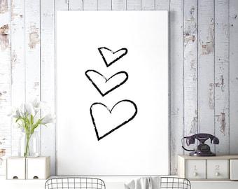 Hearts Art, Hearts Print, Black and White Print, Minimalist Poster, Printable Wall Art, Digital Download, Wall Decor, Brush Stroke Drawing